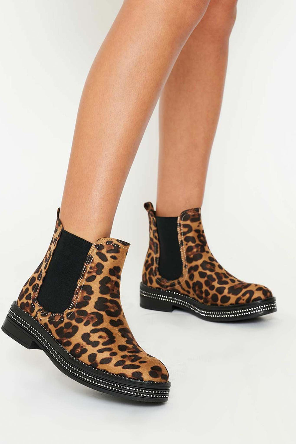Aina Diamante Studded Ankle Boots in