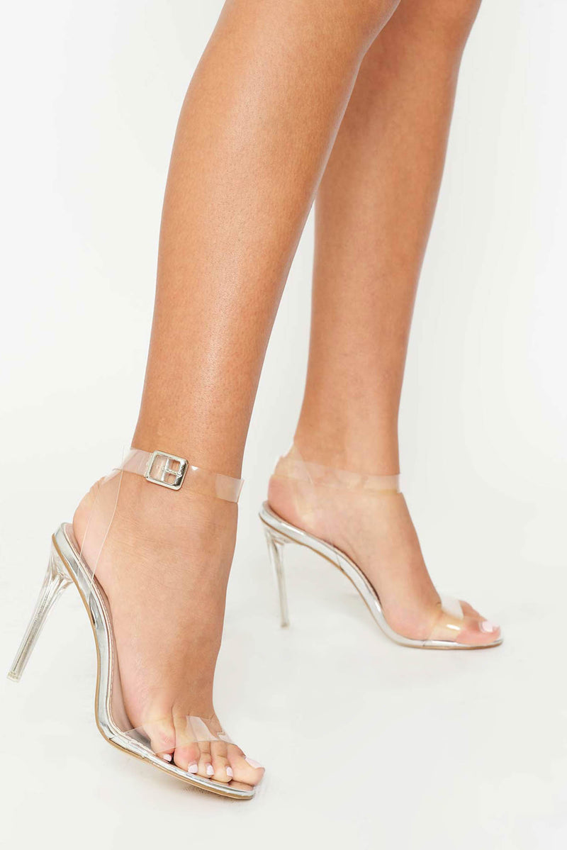 Khloe Silver Sandal with Clear Perspex Strap