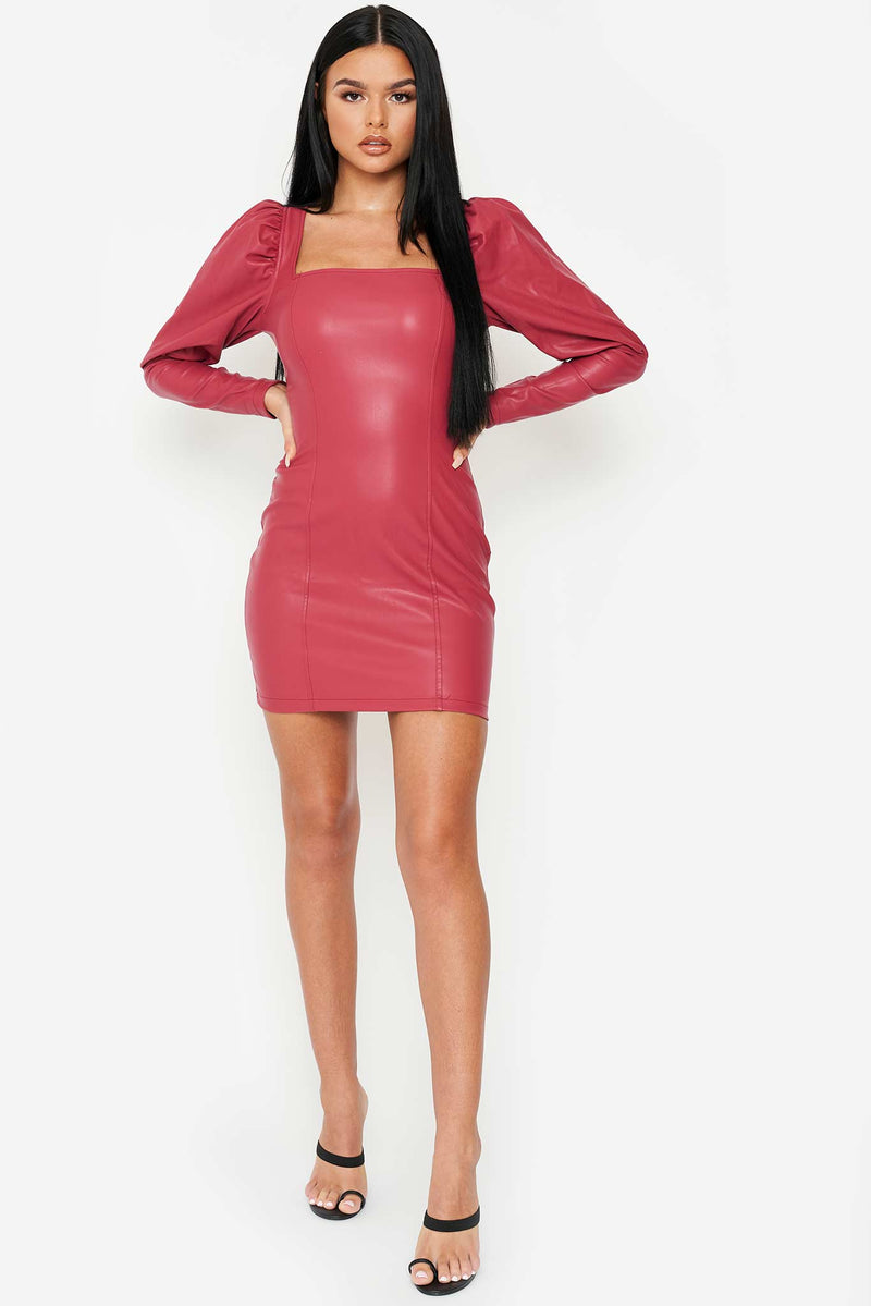 Maroon Vegan Leather Puff Sleeve Mini Dress