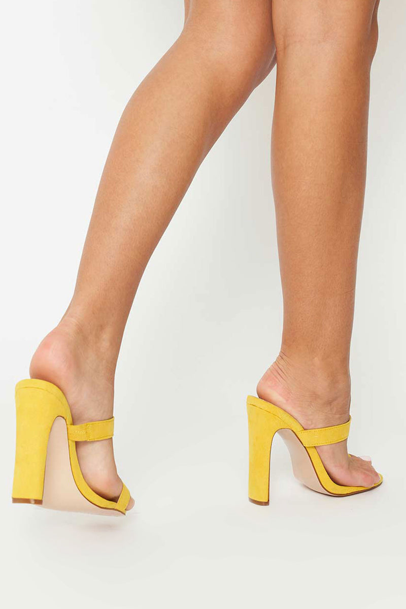 Karen Toe Ring Mules in Yellow Vegan Suede