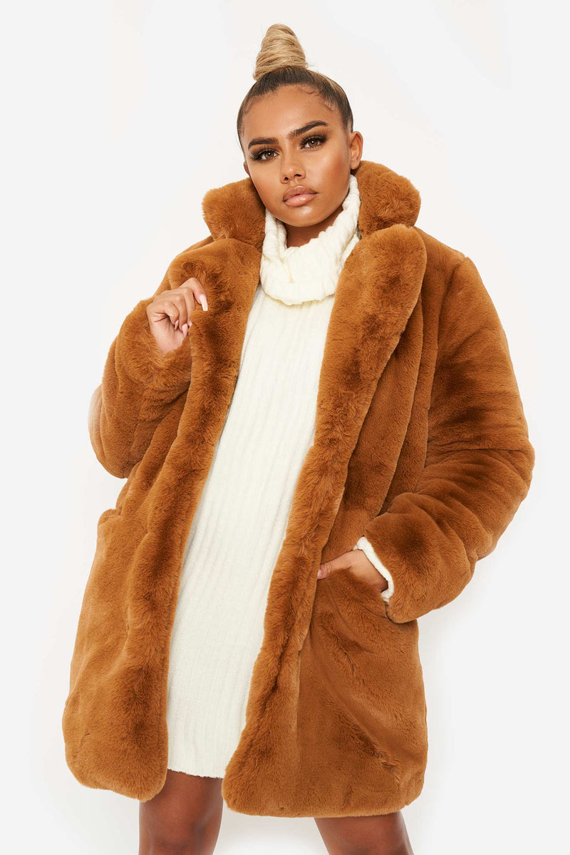 Brown Vegan Fluffy Fur Coat
