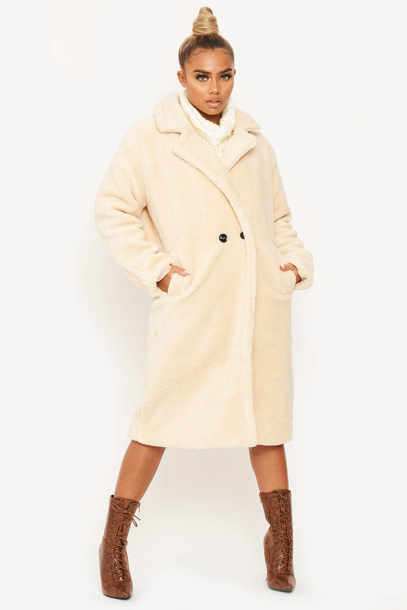 Beige Oversized Teddy Vegan Fur Coat