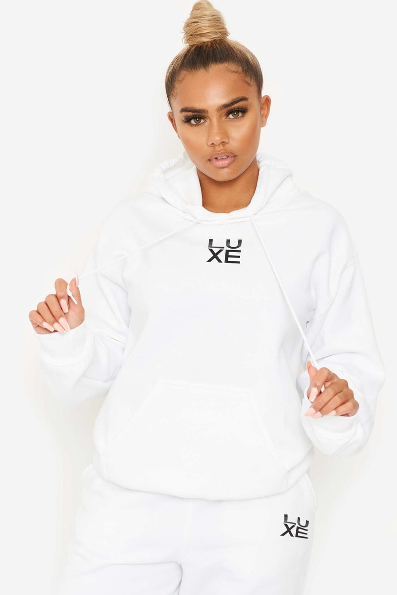 White LUXE Drawstring Hoodie