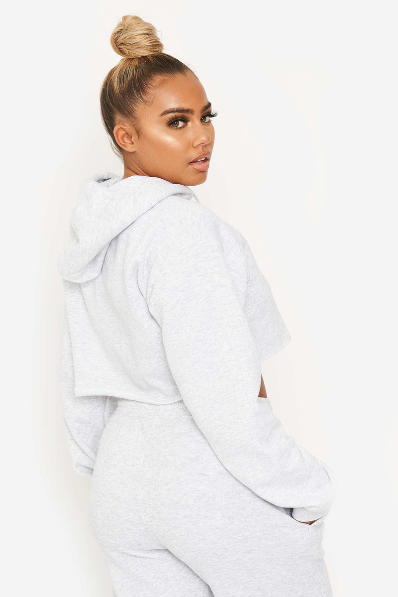 Grey Heather LUXE Cropped Hoodie
