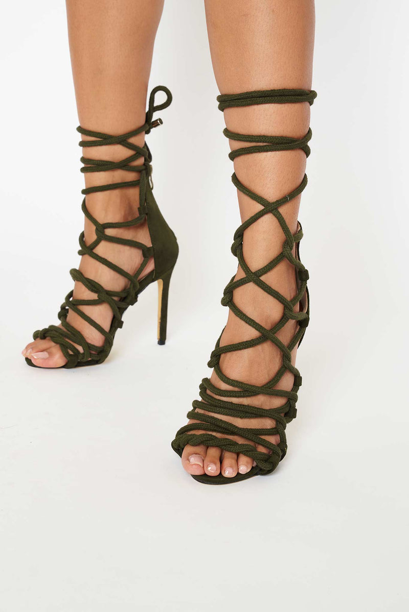 Skylar Rope Lace Up Heels in Khaki Vegan Suede
