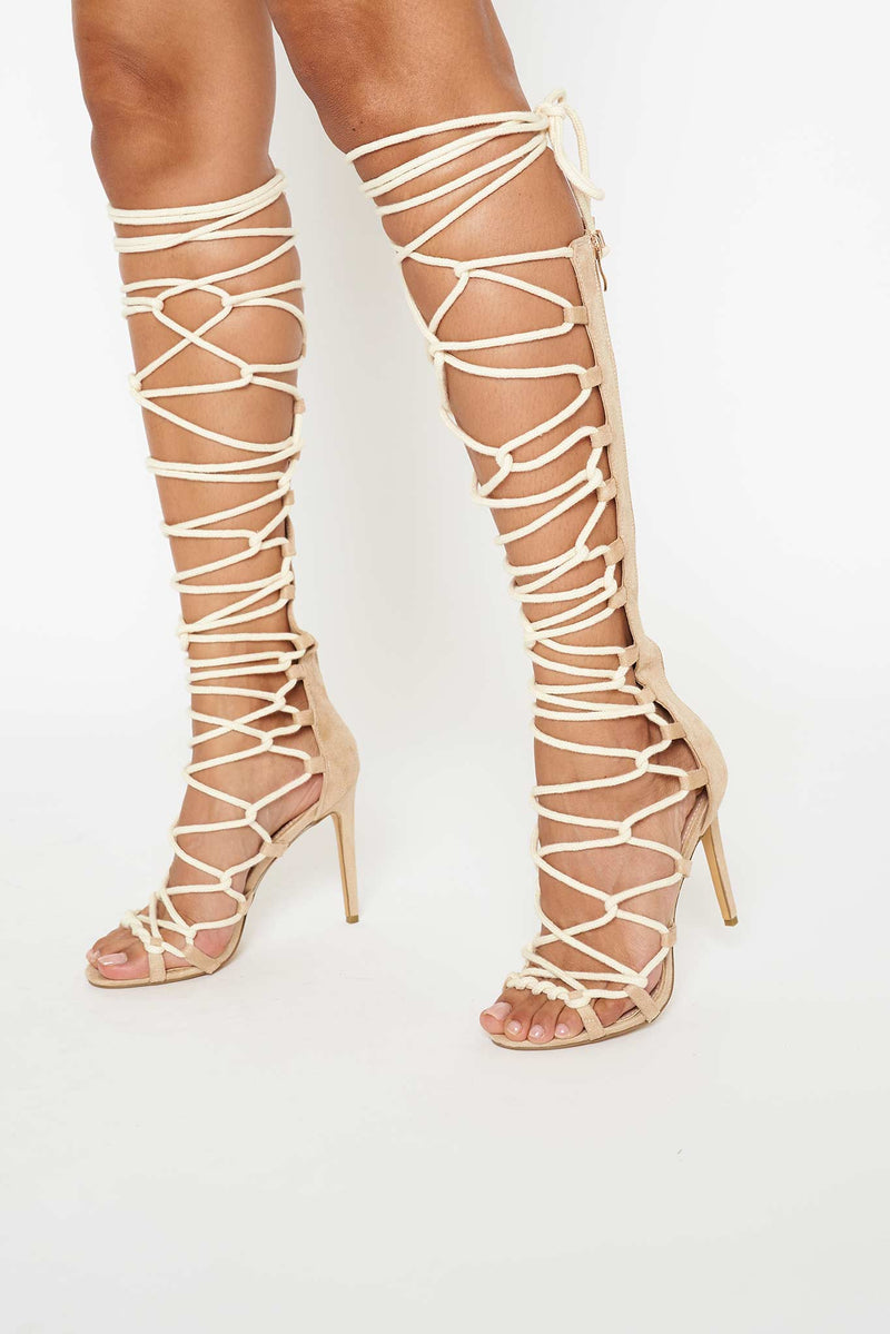 Sahara Knee High Rope Lace Up Sandals in Beige Vegan Suede