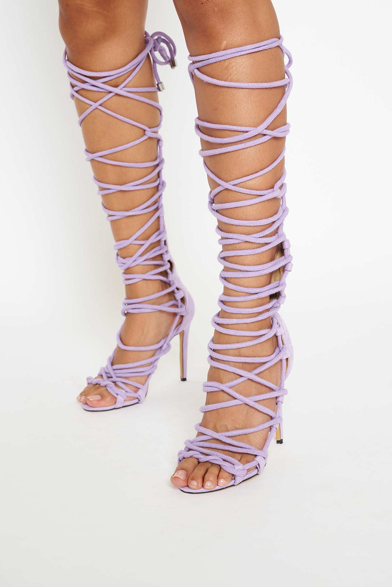 Sahara Knee High Rope Lace Up Sandals in Lilac Vegan Suede