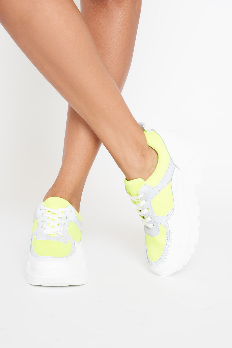 Neon Yellow Reflective Panel Chunky Trainers