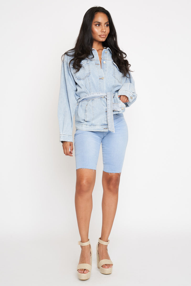Light Blue Denim Belted Jacket