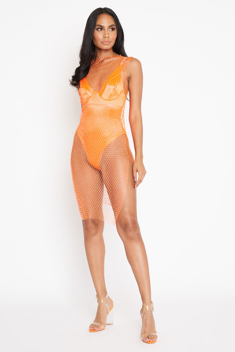 Orange Diamante Mesh Dress