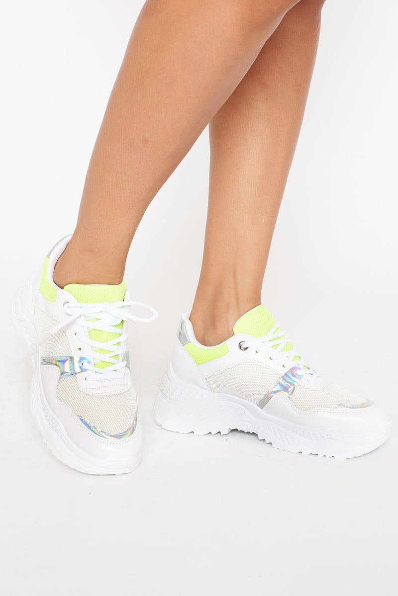 White Iridescent Yellow Trim Chunky Trainers