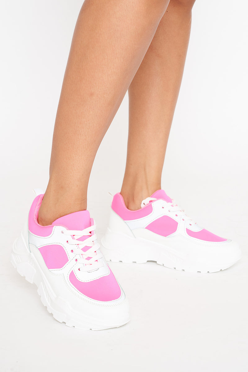 Neon Pink Reflective Panel Chunky Trainer