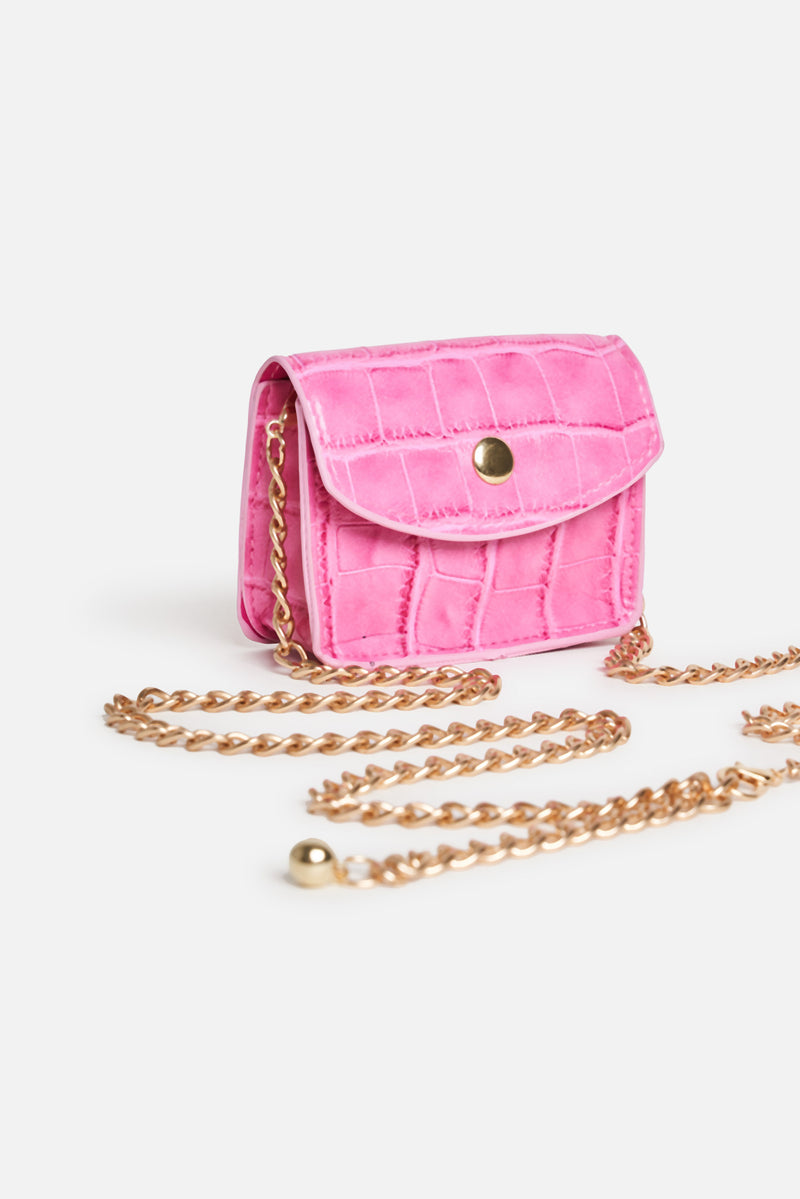 Pink Vegan Leather Croc Chain Button Mini Bag