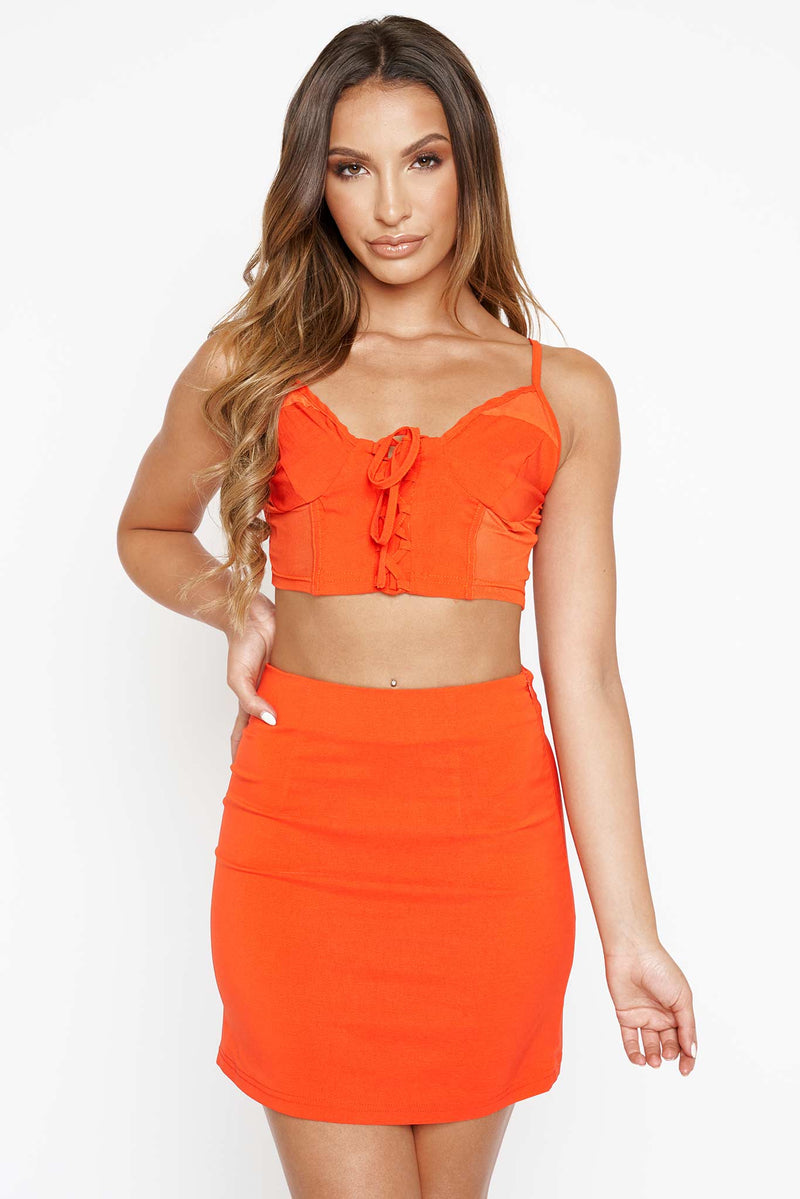 Red Mesh Insert Crop Top