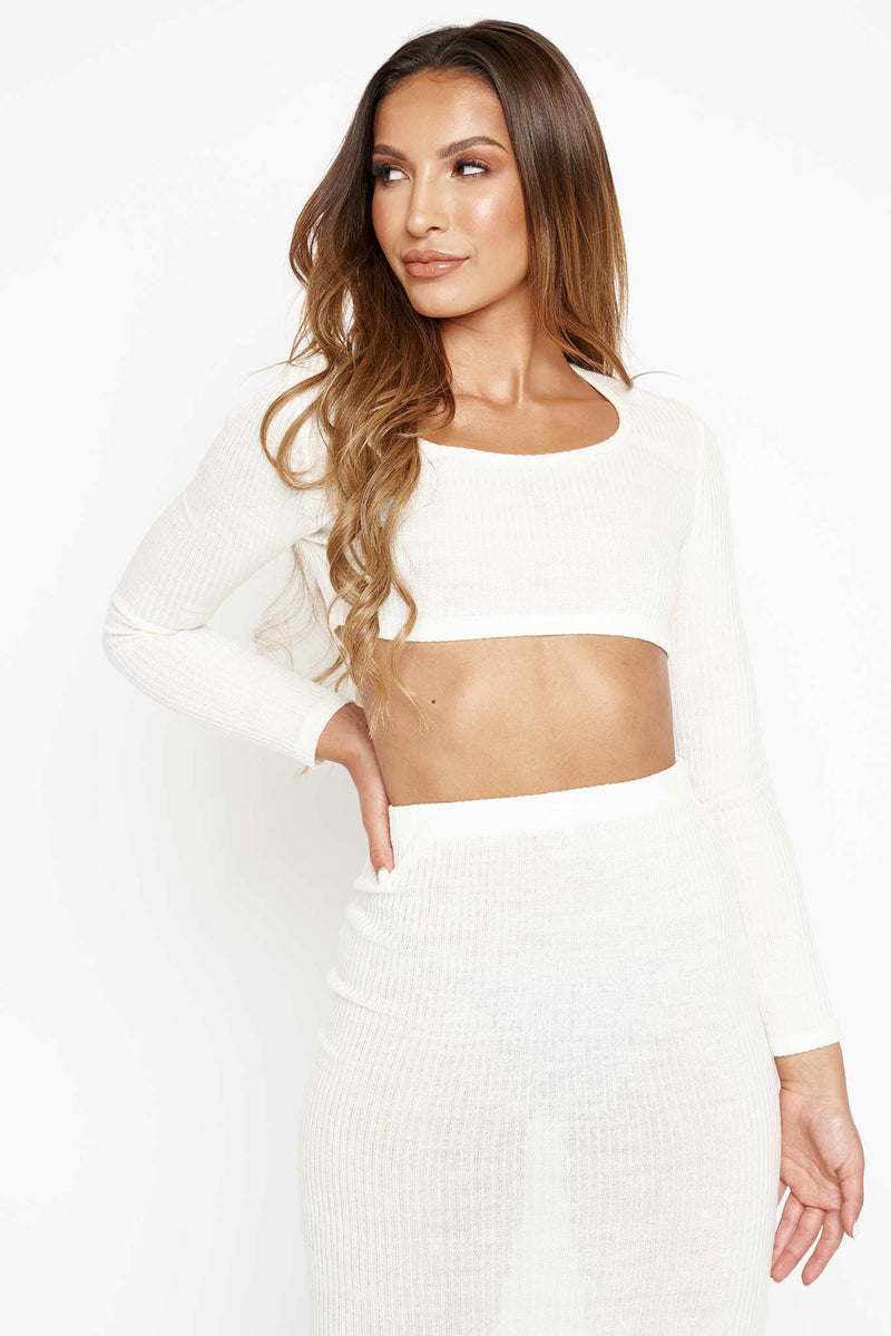 Cream Ribbed Long Sleeve Top