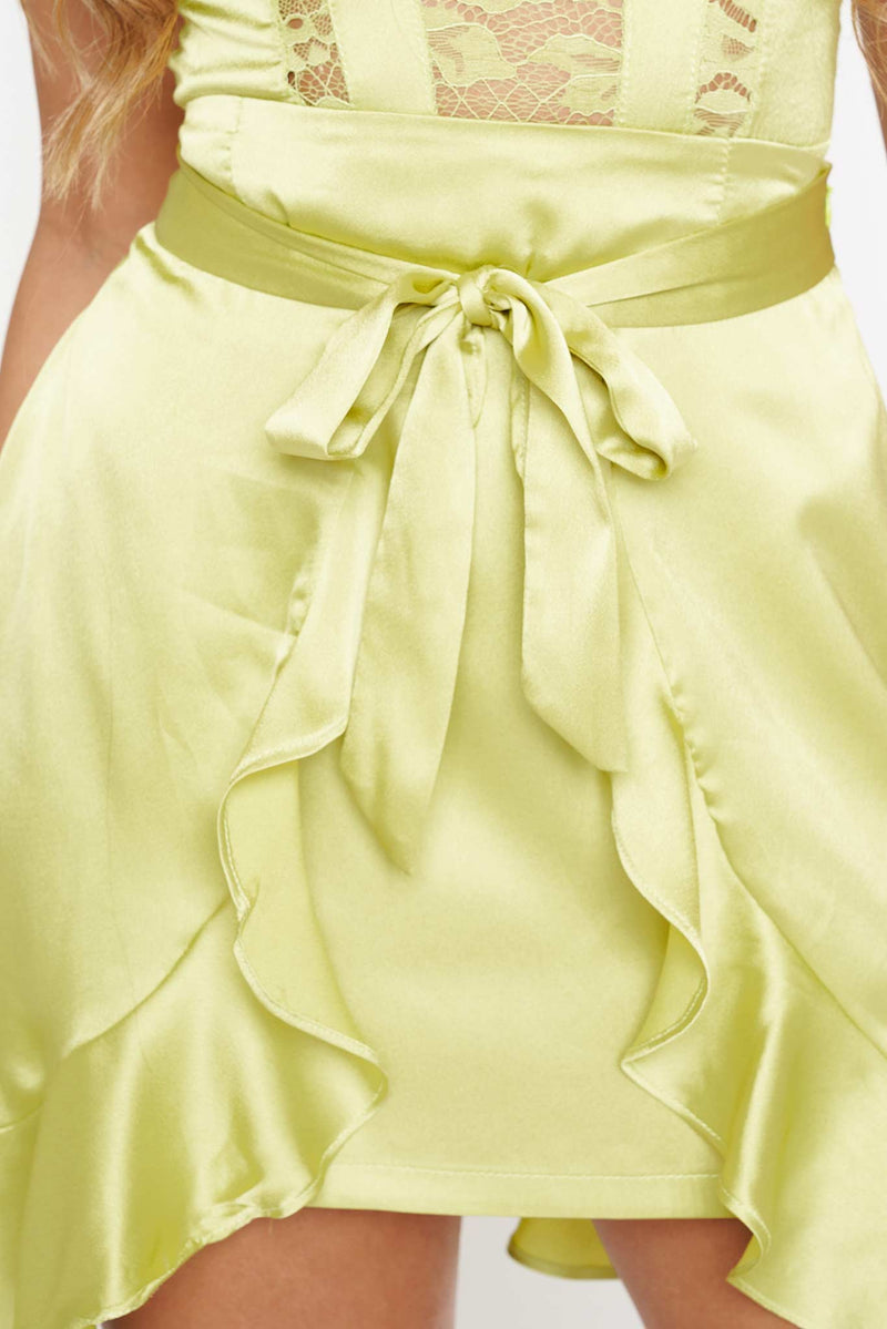 Lime Green Frill Hem Satin Mini Skirt