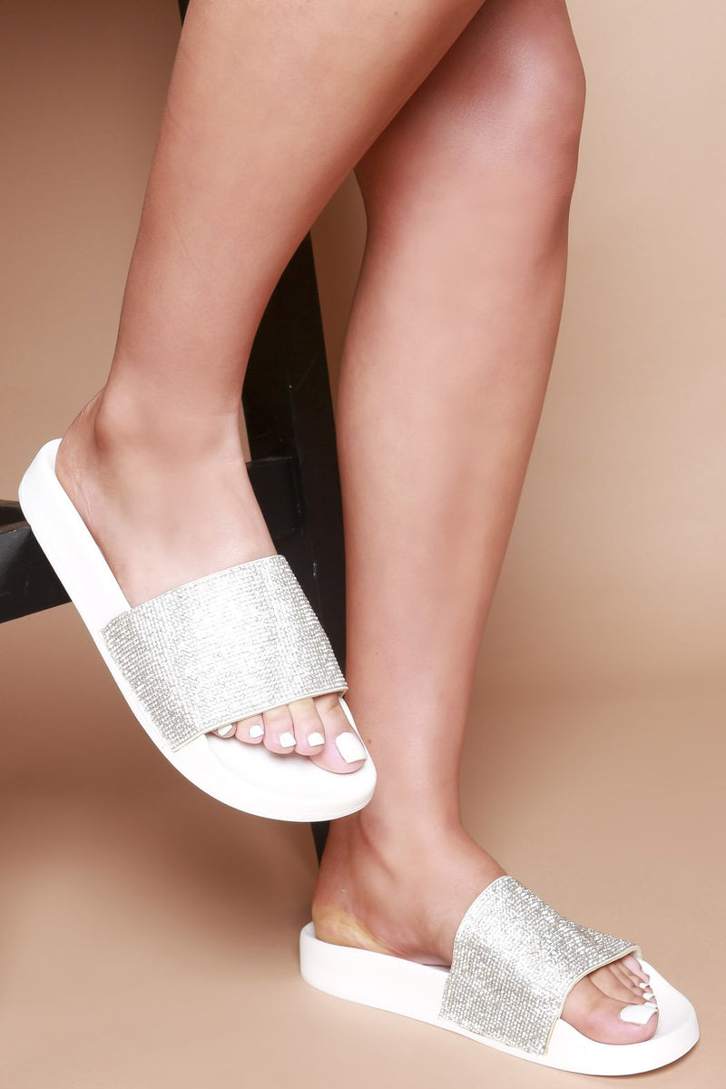 White Ayanna Sliders with Silver Diamante Strap