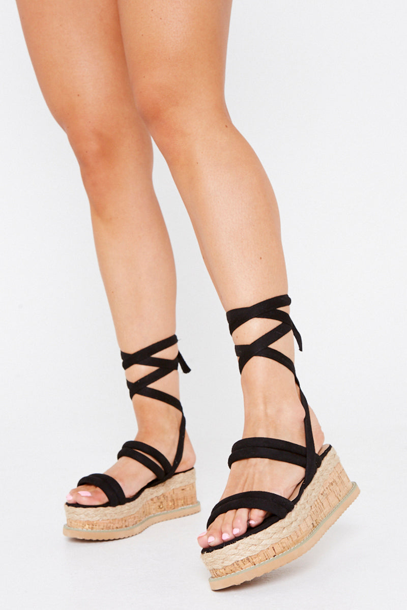 Lala Wrap Around Flatform Sandals in Black Vegan Suede