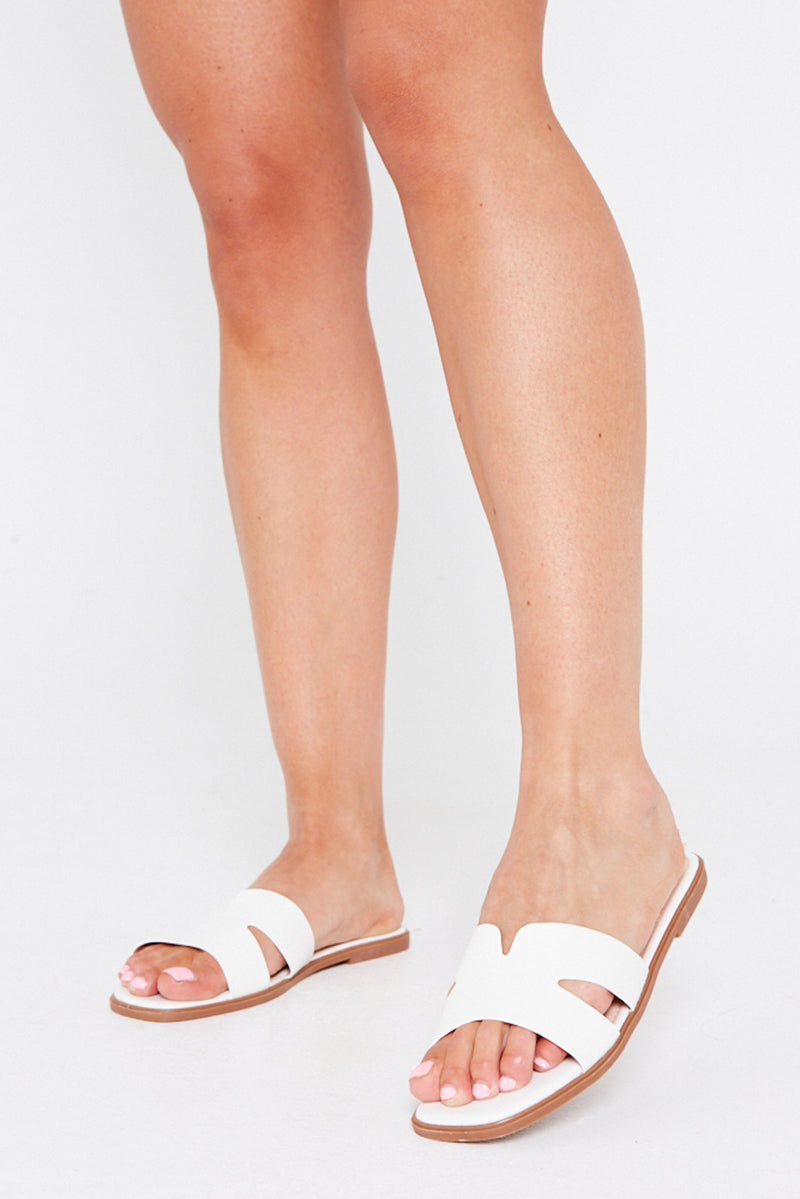 Amber Flat Cut Out Sandals in White Vegan Leather