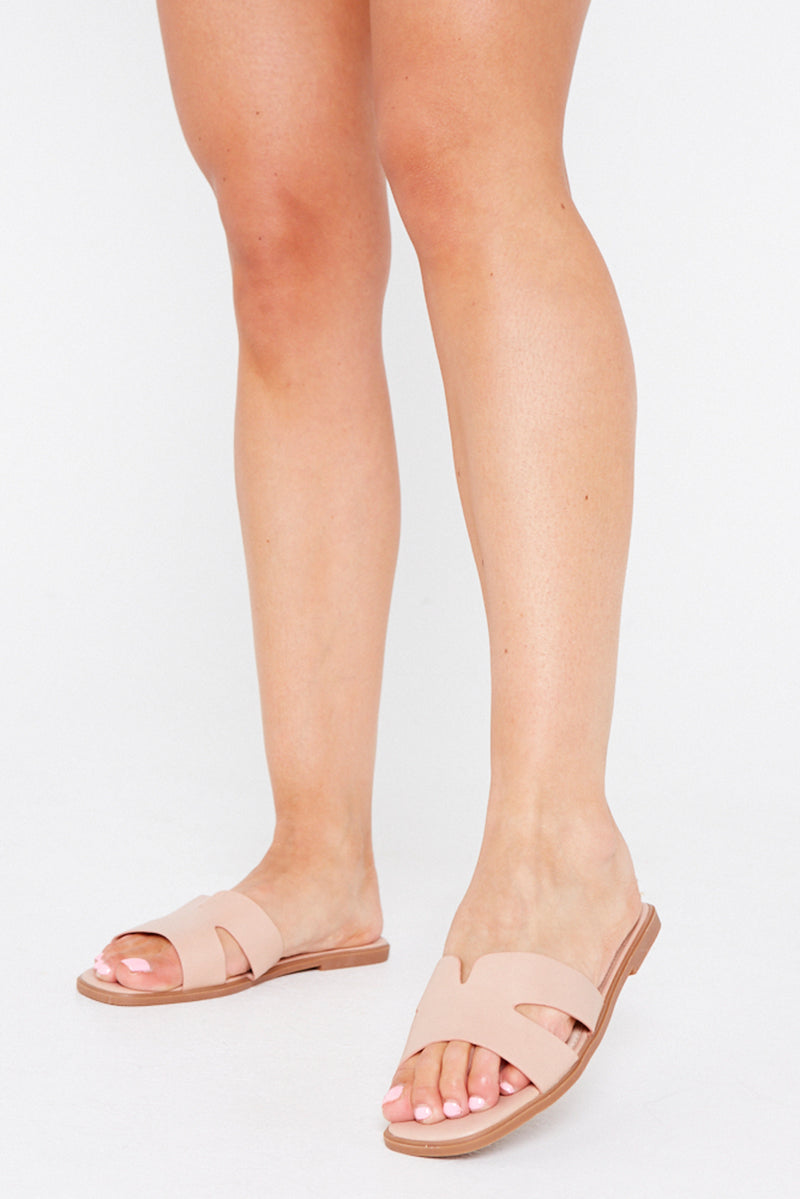 Amber Flat Cut Out Sandals in Rose Gold Vegan Leather