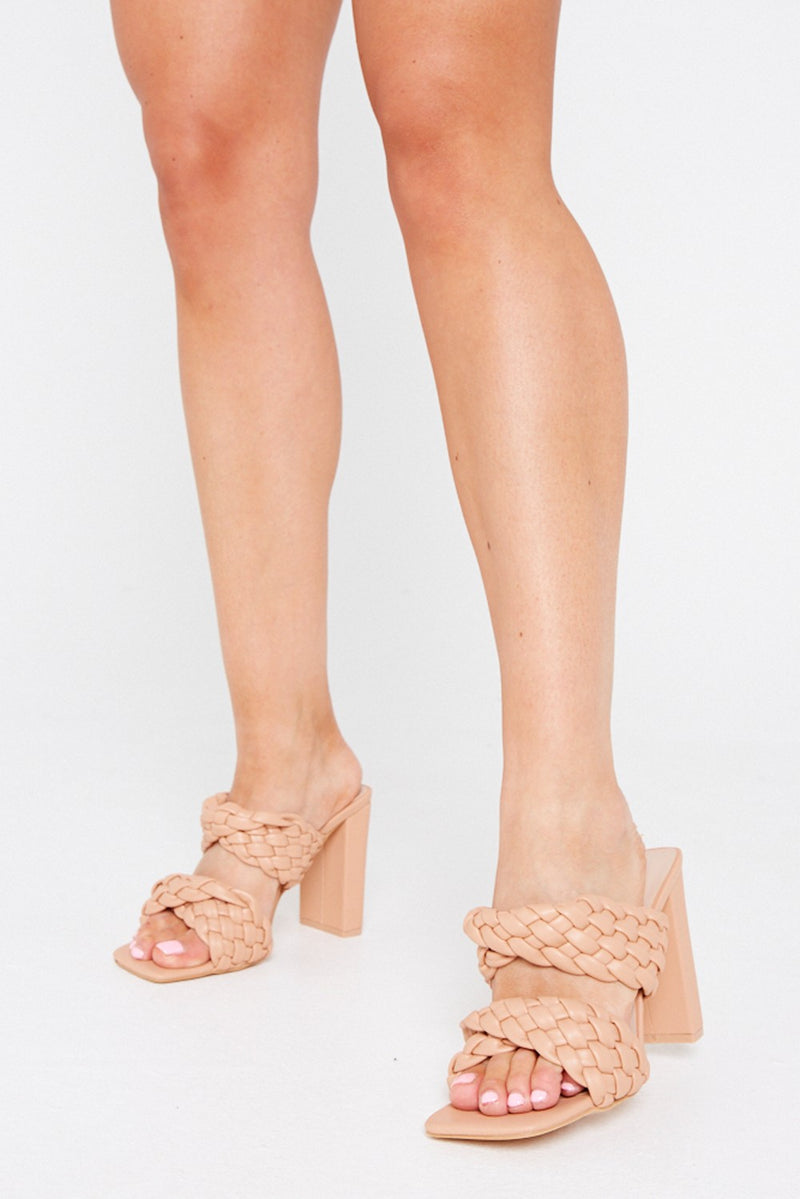Jaya Double Strap Quilted Mules in Beige Vegan Leather