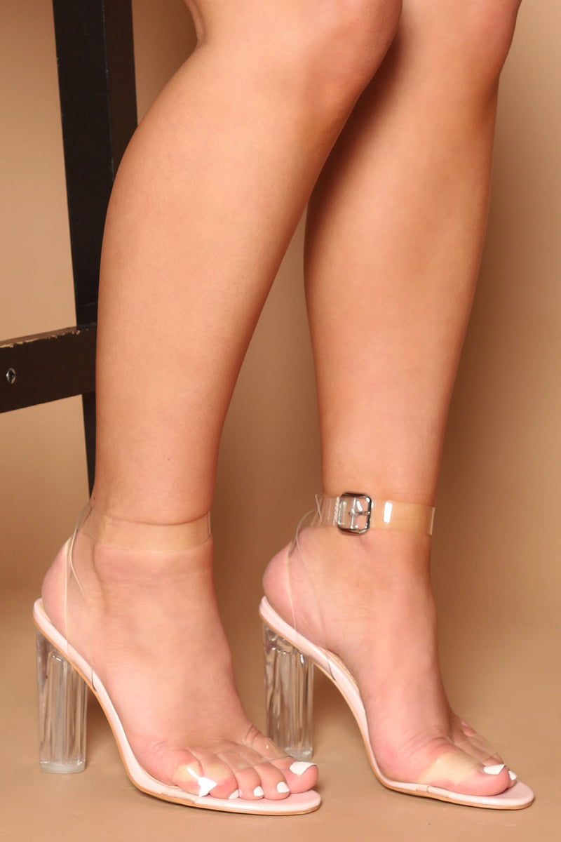 Mara Pink Sandal with Clear Perspex Strap