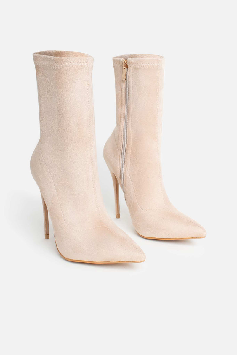 Maria Pointed Toe Ankle Boots in Beige Vegan Suede