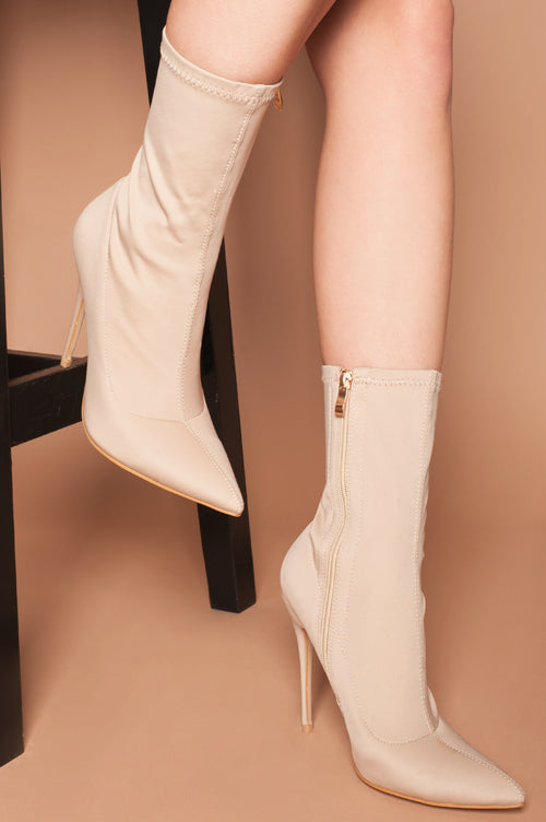 Maria Pointed Toe Ankle Boots in Beige Lycra