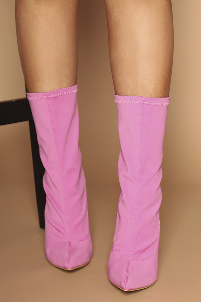 Maria Pointed Toe Ankle Boots in Pink Lycra