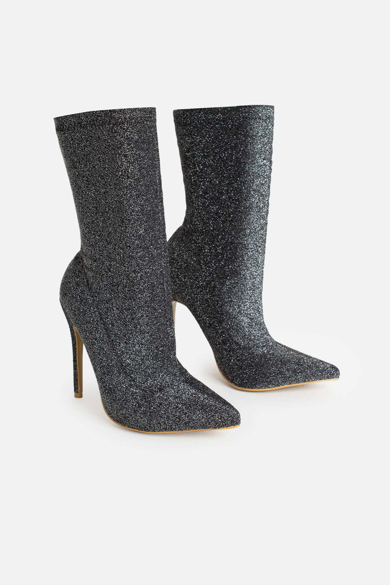 Maria Pointed Toe Ankle Boots in Silver Glitter Lycra
