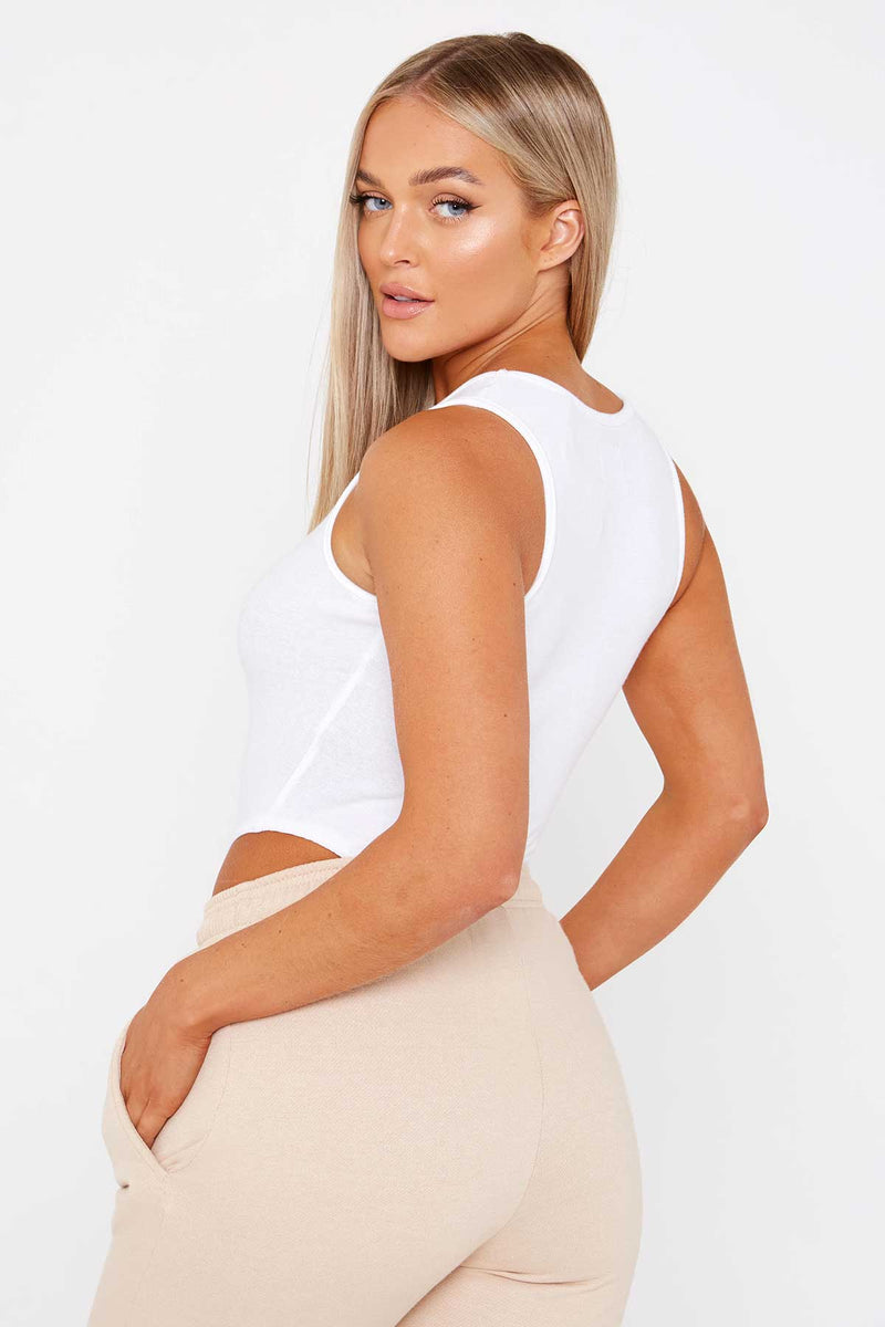 White Racer Back Bodysuit