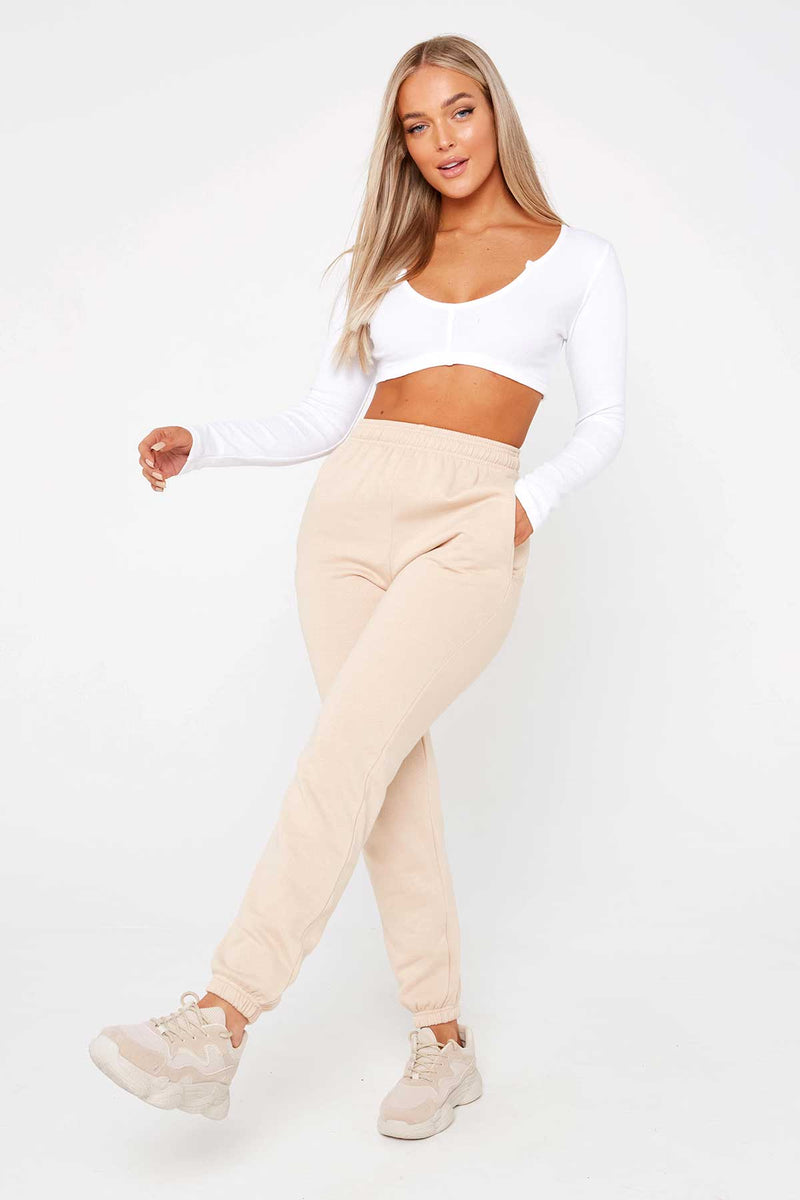 White Long Sleeve Low Cut Crop Top