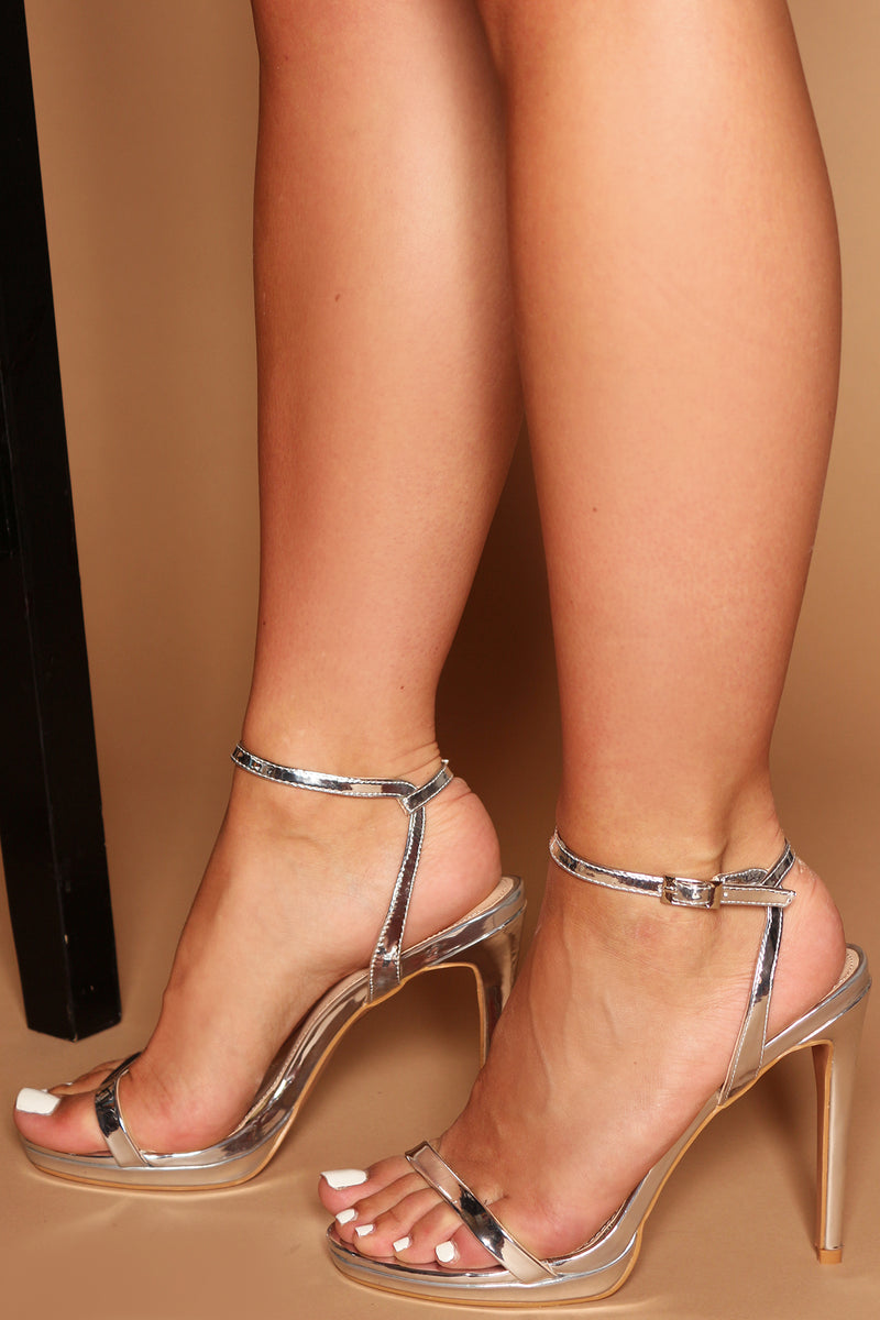 Mirela Platform Heels in Silver Metallic Vegan Leather