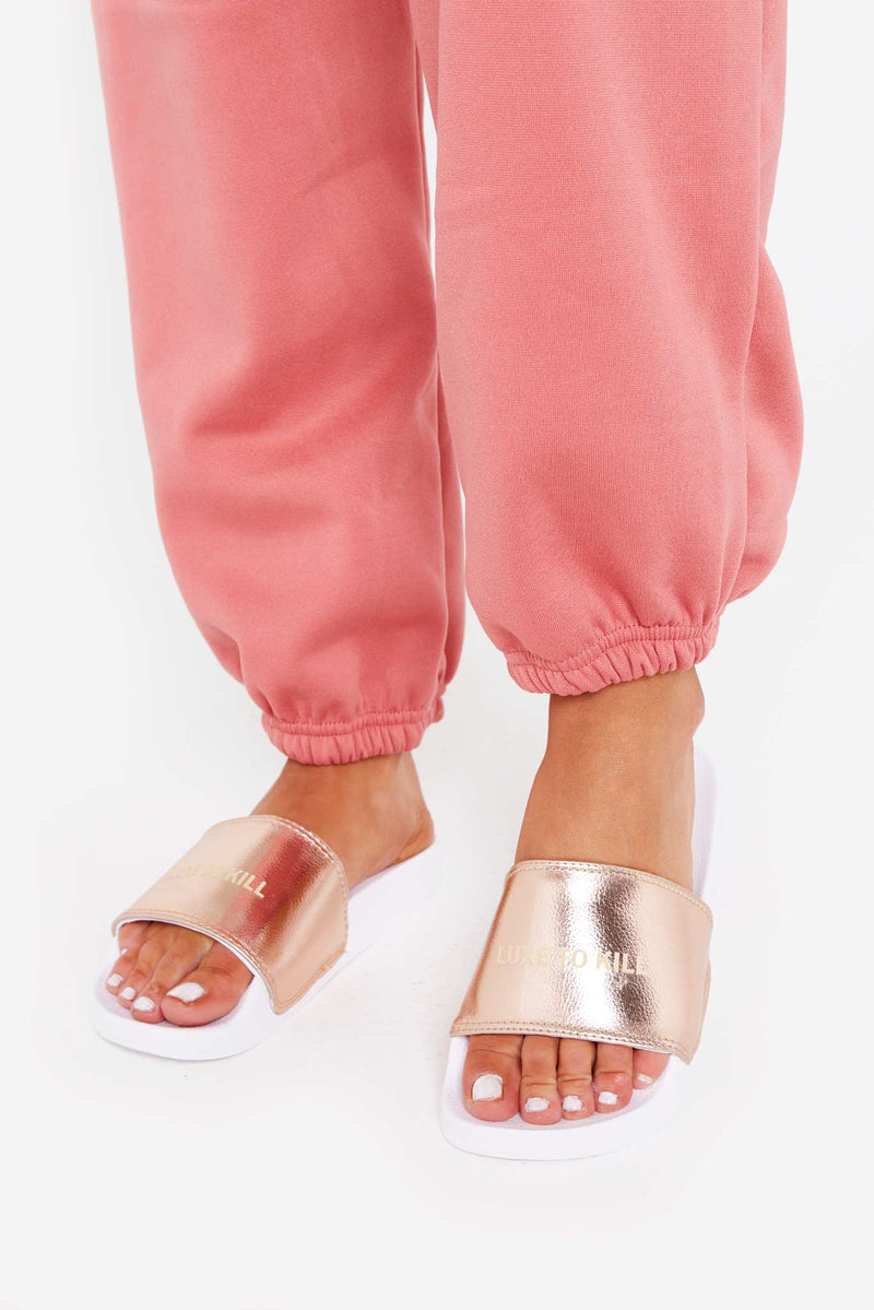 LTK Metallic Sliders in Rose Gold Vegan Leather