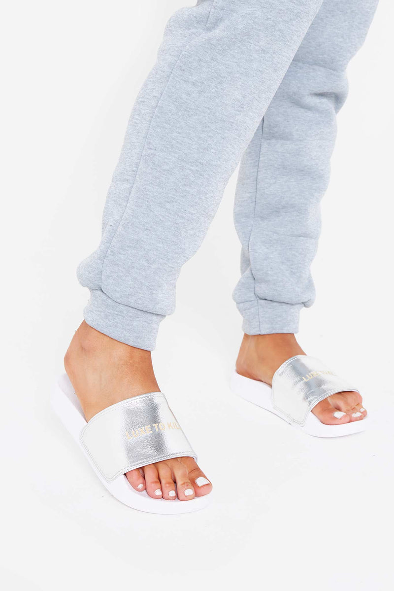 LTK Metallic Sliders in Silver Vegan Leather