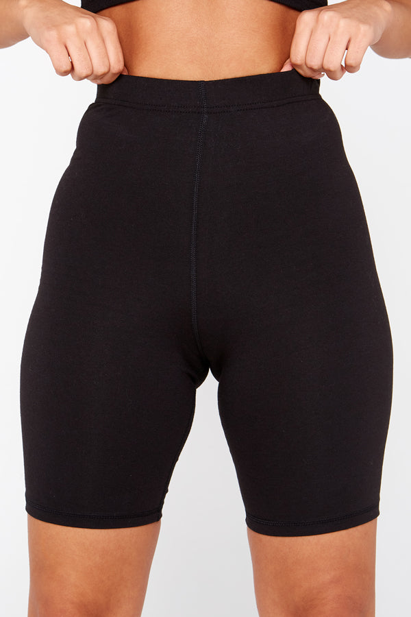 Black Cotton Stretch Cycling Shorts