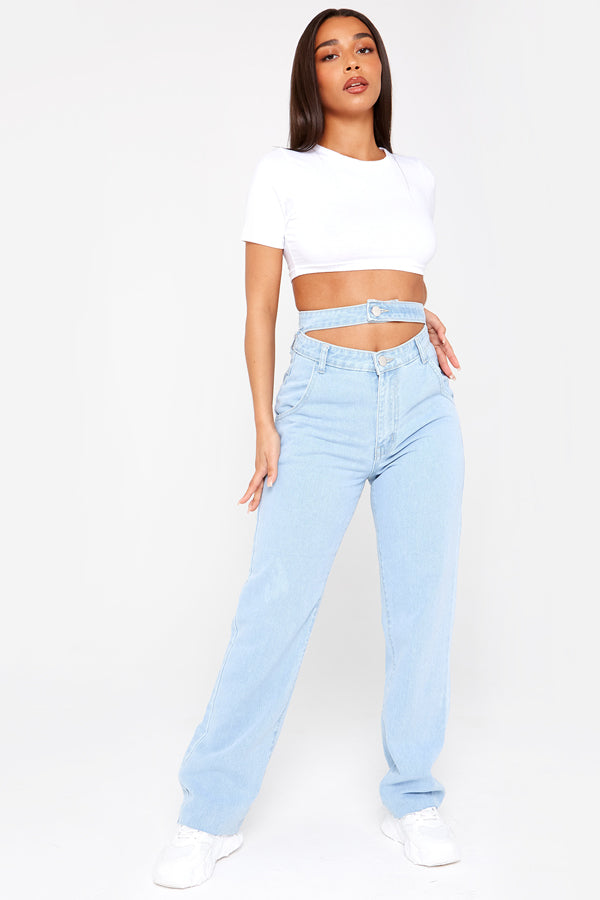 Light Wash Oversized Belted Boyfriend Jeans