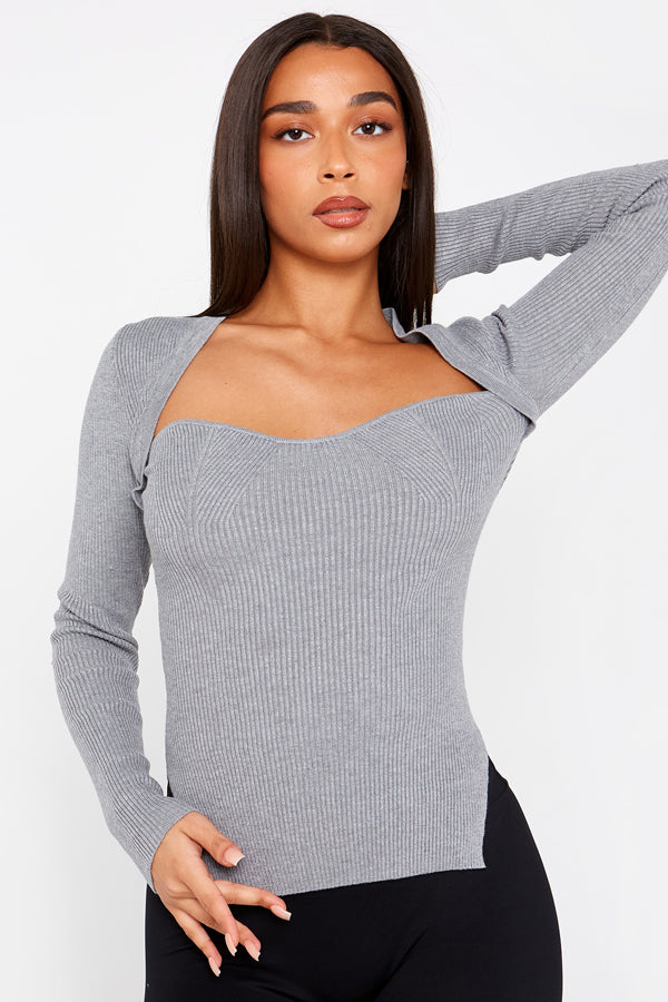 Grey Knitted Corset Top