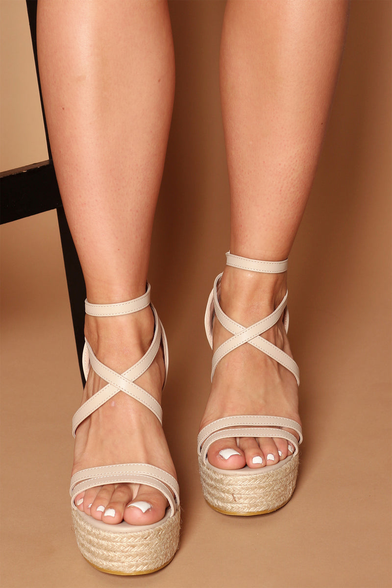 Naomi Strappy Wedges in Beige Vegan Leather