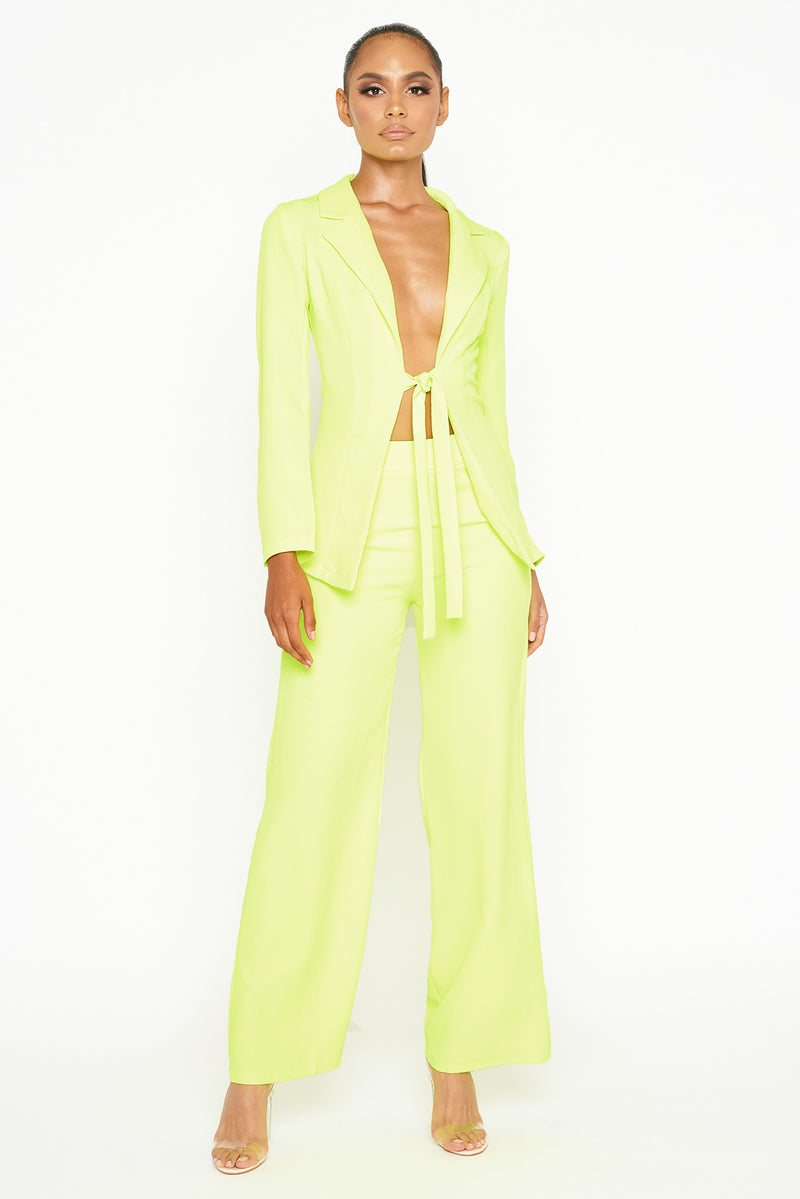 Neon Yellow Two Piece Suit