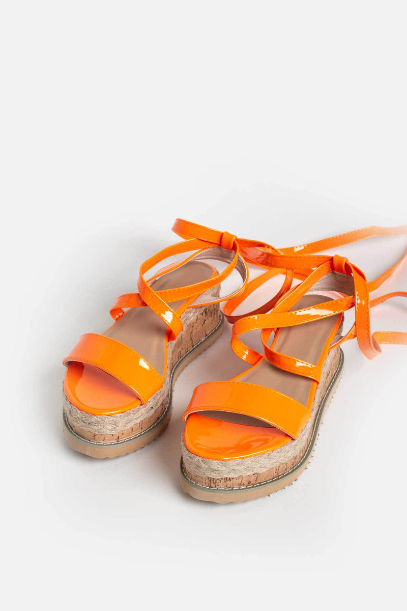 Lala Cork Flatform Sandals in Neon Orange Vegan Leather