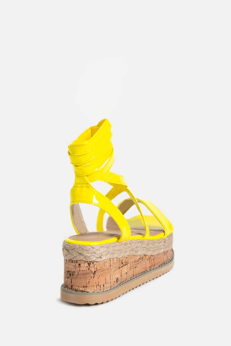 Lala Cork Flatform Sandals in Neon Yellow Vegan Leather
