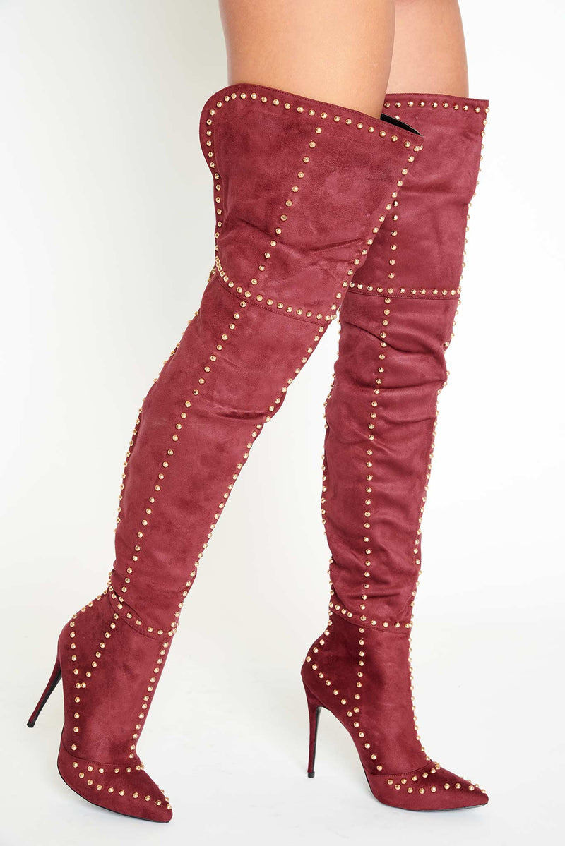 Jada Studded Thigh High Boots in Burgundy Vegan Suede