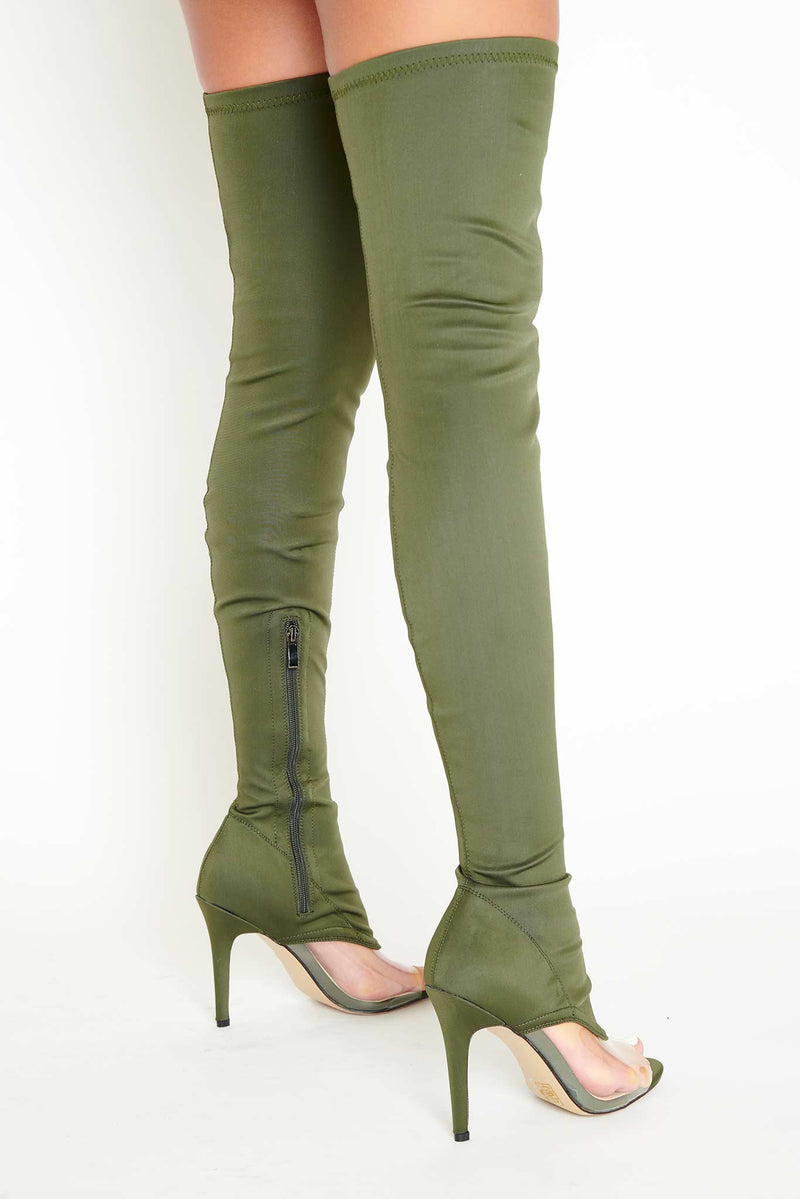 Tegan Perspex Front Thigh High Boots in Khaki Lycra