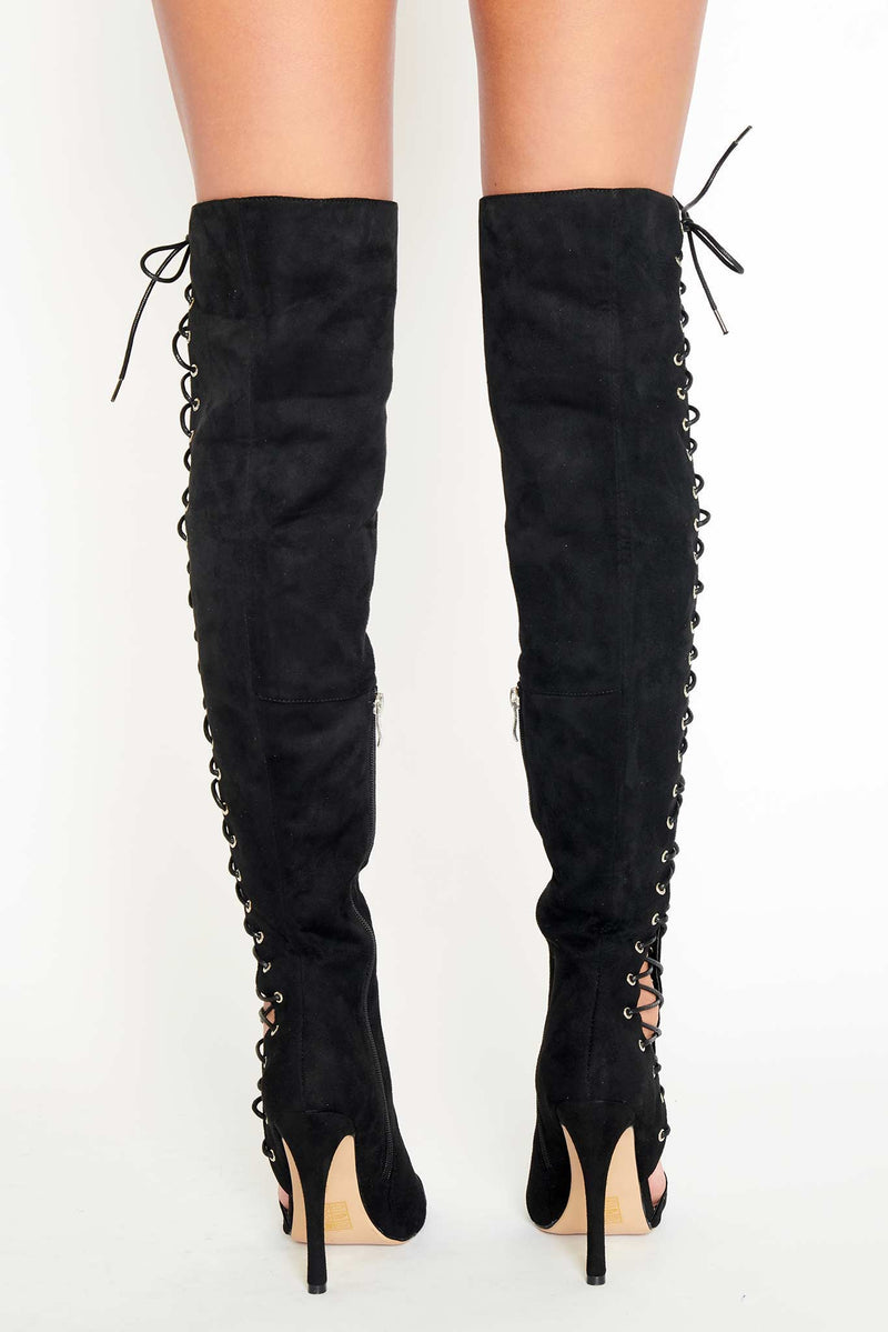 Leah Lace Up Thigh High Boots in Black Vegan Suede