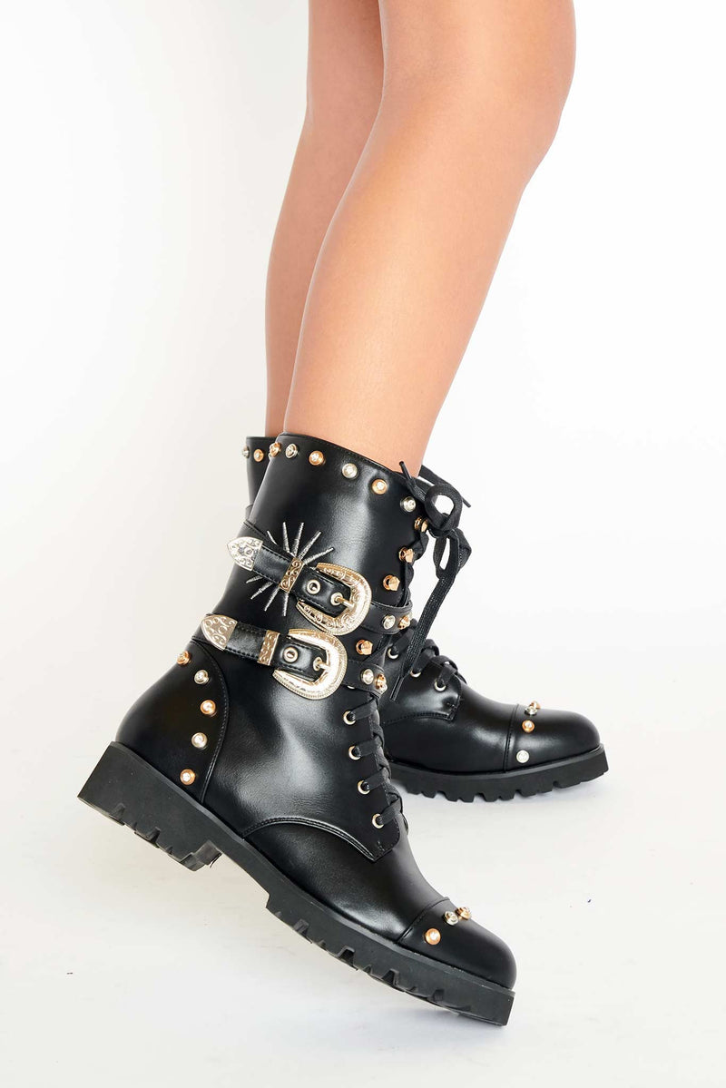Stella Military Boots in Black Vegan Leather