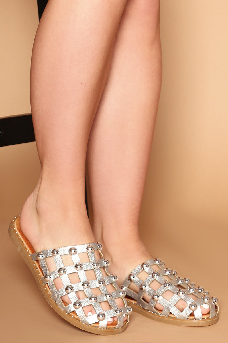 Patricia Studded Slider in Silver Vegan Leather
