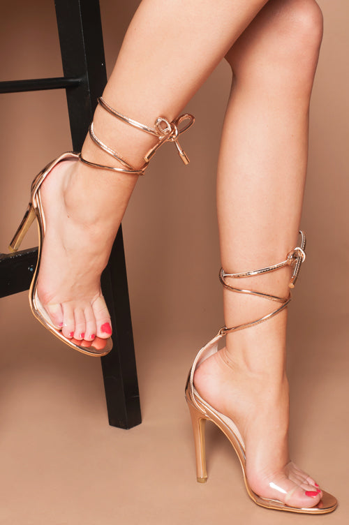 Phoebe Lace Up Perspex Strap Heels in Rose Gold