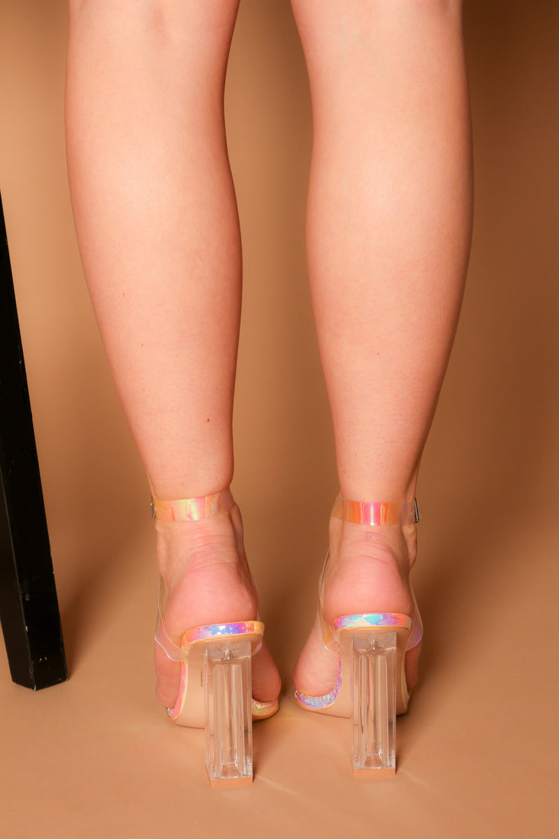 Patty Perspex Block Heels in Iridescent Pink Vegan Leather