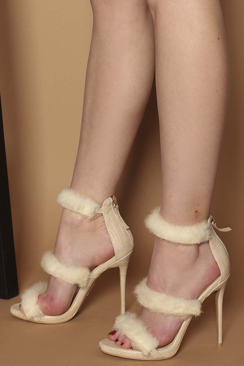 Rosie Fluffy Platform Heels in Beige Vegan Snake Print Leather